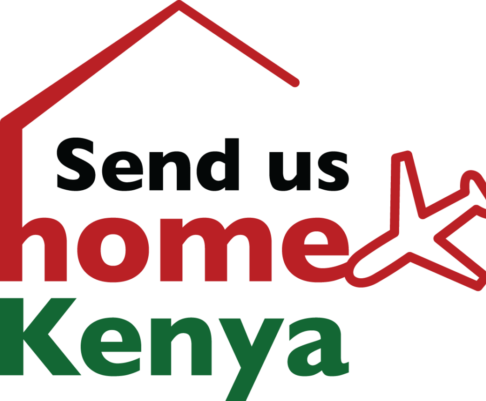 'send us home kenya' words embedded inside a house icon in the Kenyan flag colours.
